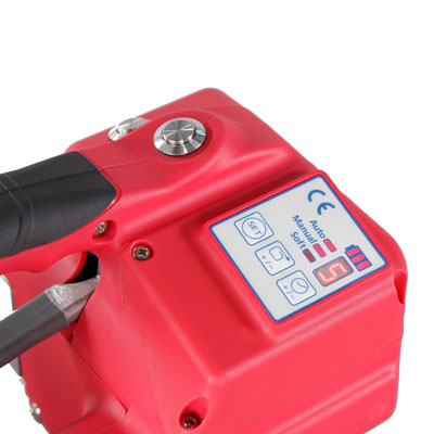 Battery powered strapping tool for PET and heavy duty PP