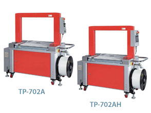Mercury Transit TP-702A and TP-702AH fully-auto strapping machines, with Roller-driven table