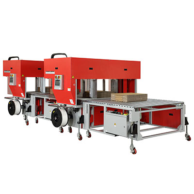TP-702CQ3-T Tandem High Speed Corrugated Strapper with Integrated Squaring System